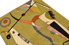 Miro 5ft X 7ft Wool by Kandinsky Abstract Airplane Wool Rug Wall Tapestry Green Hand