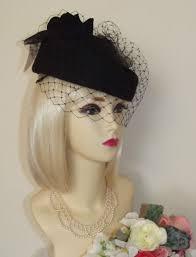 funeral hat new vintage 1940 s 1950 s style black pillbox veil hat