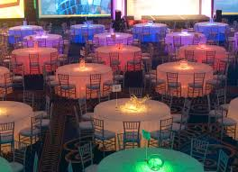 lighted tables with pink orange yellow lime caribbean blue and