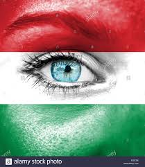 woman face painted with flag of hungary stock photo royalty free