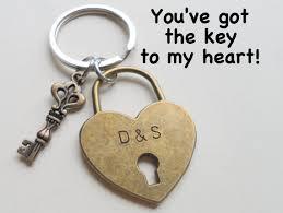 8th year anniversary gift bronze heart lock key keychain couples keychain 8th year