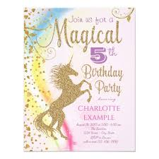 party invitations unicorn rainbow magical birthday party invitations zazzle
