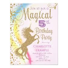 birthday party invitations unicorn rainbow magical birthday party invitations zazzle