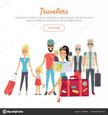 Travelers of different age with suitcases banner stock vector