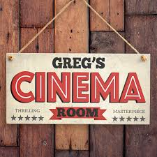 Room Signage Design Personalised Door Sign U2013 Retro Style Cinema Room Sign For Boys Room