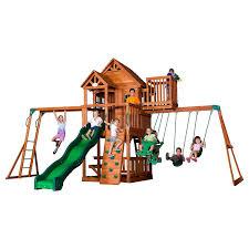 exterior skyfort ii all cedar wood swing outdoor playset by