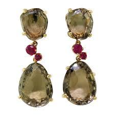 smoky quartz earrings pomellato bahia smokey quartz ru gold earrings at 1stdibs smoky
