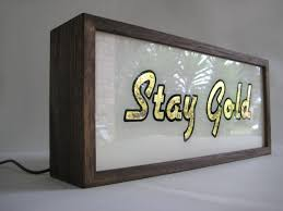 gold leaf sign stay gold vintage wooden lightbox
