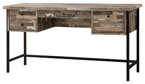 wood and metal writing desk salvaged cabin rustic wood office writing desk with 4 drawers modern