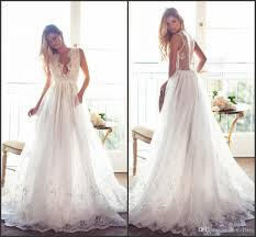 rustic wedding dresses discount summer wedding dresses 2017 plunging v neck
