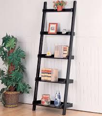 Bookcase Black Wood Interior Leaning Ladder Shelves Wooden Shelf Ladder White