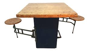 vintage used rustic islands and butcher blocks chairish industrial swing out stool butcher block table