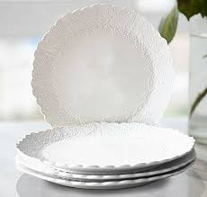 dinner plates accent plates 4 set scalloped embossed bone china