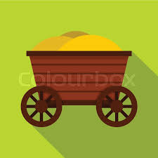 vintage wooden cart icon flat illustration of wooden cart vector