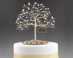 50th wedding anniversary cake toppers 50th anniversary cake topper gold tree sculpture
