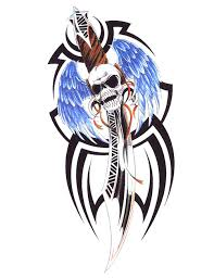 dagger with angel wings and skull tribal tattoo free design ideas