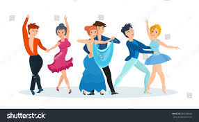 young couples dance modern types dances stock vector 606198434