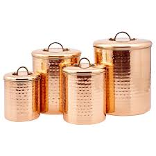 kitchen storage canisters 4 pc set hammered copper metal coffee