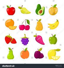 cartoon fruits vector clipart collection fruit stock vector