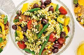 pasta salad with chunky pesto dressing