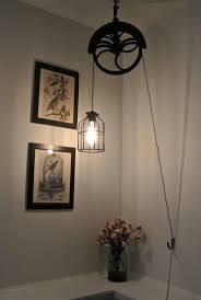 Etsy Pendant Light Upcycled Industrial Vintage Well Pulley Hanging Pendant Cage Light