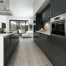 grey cabinet kitchens dark brown elongated island white granite