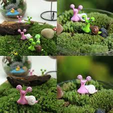 2x garden ornament miniature snail figurine resin craft