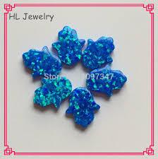 Opal Teh 30pcs lot sale op05 pacific blue syntehtic opal hamsa 11 13mm