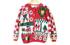 vintage 90s chunky hand knit tacky ugly christmas sweater women u0027s