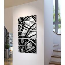 Metal Home Decor Wholesale Frequency One Black And Silver Metal Wall Art 5 Panel Wall