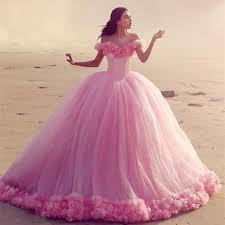 pink wedding dress the shoulder tulle gowns flower wedding dresses for
