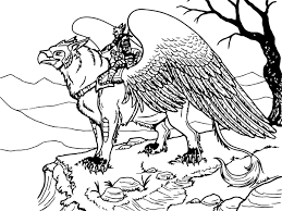 griffon rider creature coloring page wecoloringpage