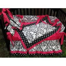 Pink And Black Crib Bedding Sets Black White Polka Dot Damask Pink Crib Bedding Set