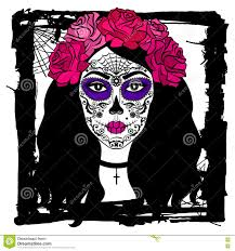 mexican halloween makeup with sugar skull makeup mexican day of the dead stock