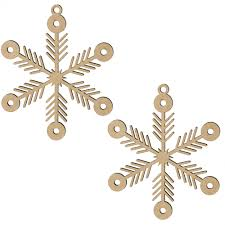 4 wooden cut ornament arrow snowflake set of 2 wm1901