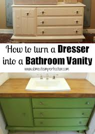 Turning Dresser Into Bookshelf How To Turn A Dresser Into A Bathroom Vanity Domestic Imperfection