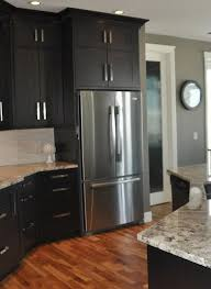 kitchen wall colors with black cabinets above fridge cabs grey kitchen walls home grey