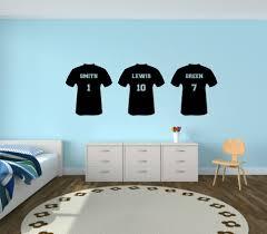 personalised football shirt vinyl wall sticker boys bedroom kids personalised football shirt vinyl wall sticker boys bedroom kids custom team