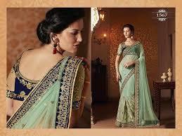 pista green color bollywood sarees online