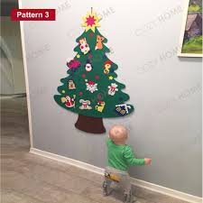 cut rate 2017 new kids diy felt christmas tree set with ornaments