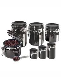 oggi 7 piece round canister set in black organizing nick nacks
