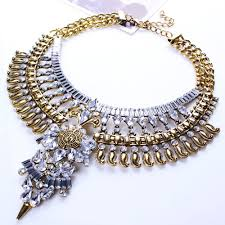 fashion jewelry gold necklace images Bohemian vintage necklace crystal multi layer chock necklace jpg