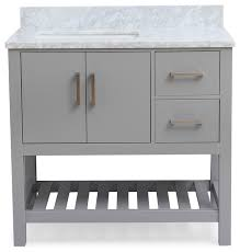 piacenza gray bathroom vanity with carrara marble top and 2