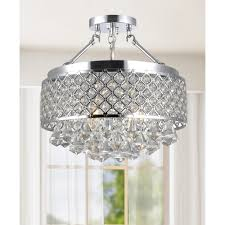 Small Crystal Chandelier For Bathroom Candice Chrome Grey And Crystal Semi Flush Mount Chandelier