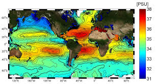 Longitude And Latitude Map Of The World Salinity Distribution At The Ocean Surface Sea Surface Salinity