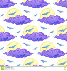 violet clouds yellow moon and blue bats silhouettes on white