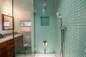 encircle design and build bathroom with green mosaic glass tile