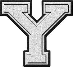 presentation alphabets white varsity letter y