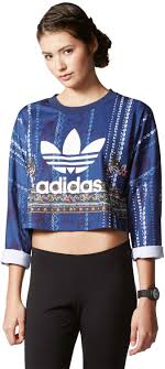 adidas crop top sweater cirandeira crop w sweater blue white yellow