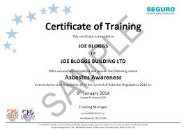 asbestos awareness certificate template manual handling training